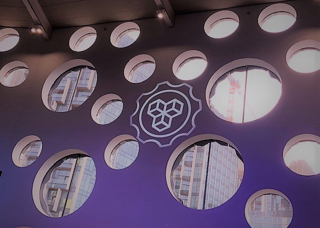 MozFest logo projected on wall at Festival.