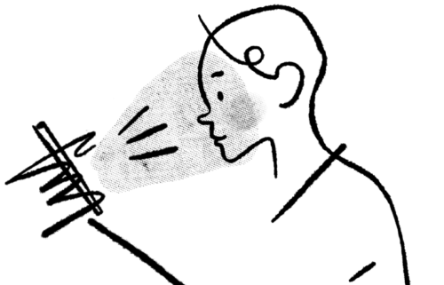 Illustration of a person bathed in light from a smartphone,